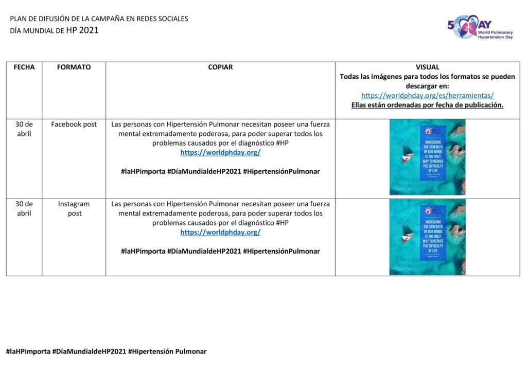 Plan De Difusión De La Campaña En Redes Sociales - DÍA MUNDIAL DE HP 2021